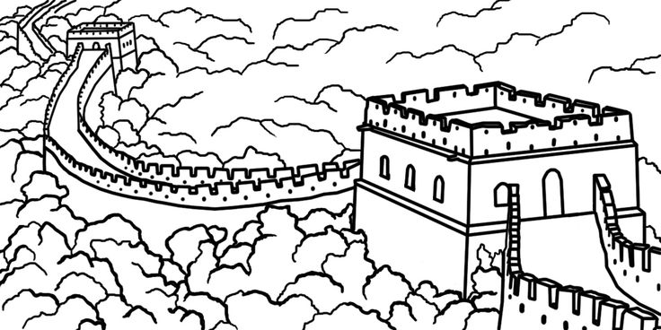 Great Wall of China Coloring Lesson | Kids Coloring Page ...