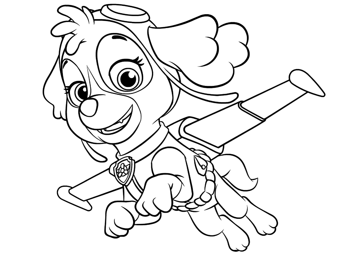 Skye Paw Patrol Coloring Lesson | Kids Coloring Page ...
