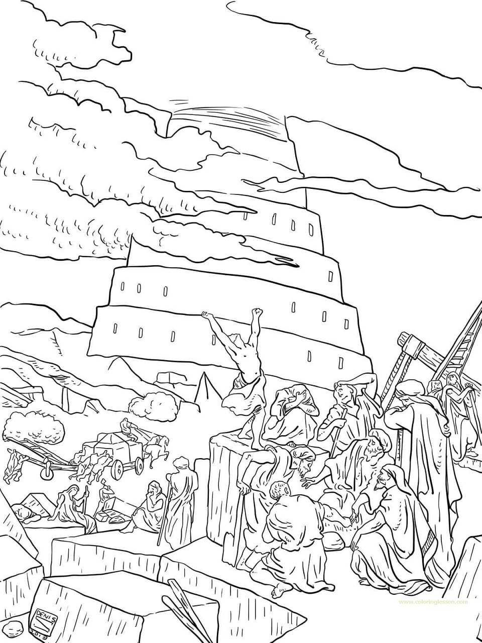 tower of babel coloring lesson coloring page