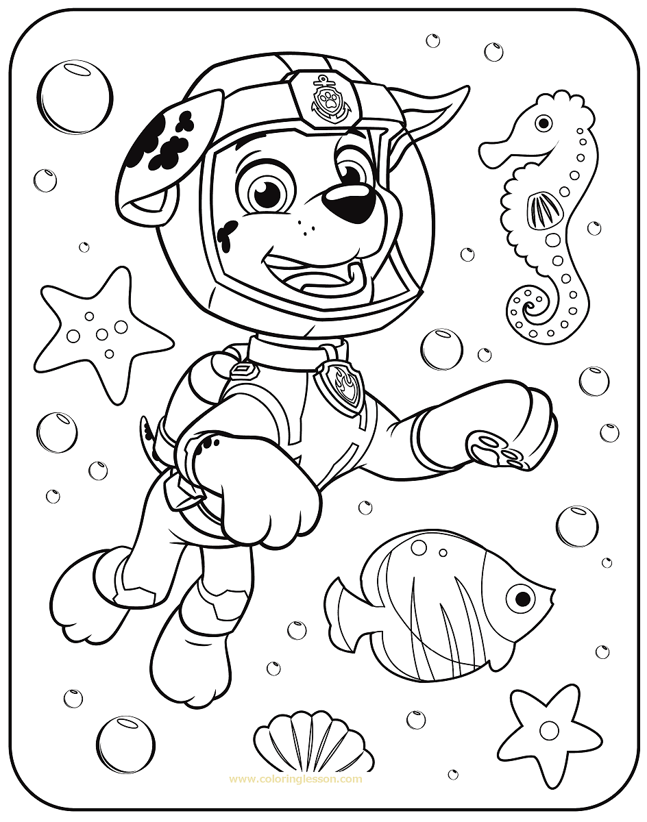 Marshall Paw Patrol Coloring Lesson | Kids Coloring Page ...