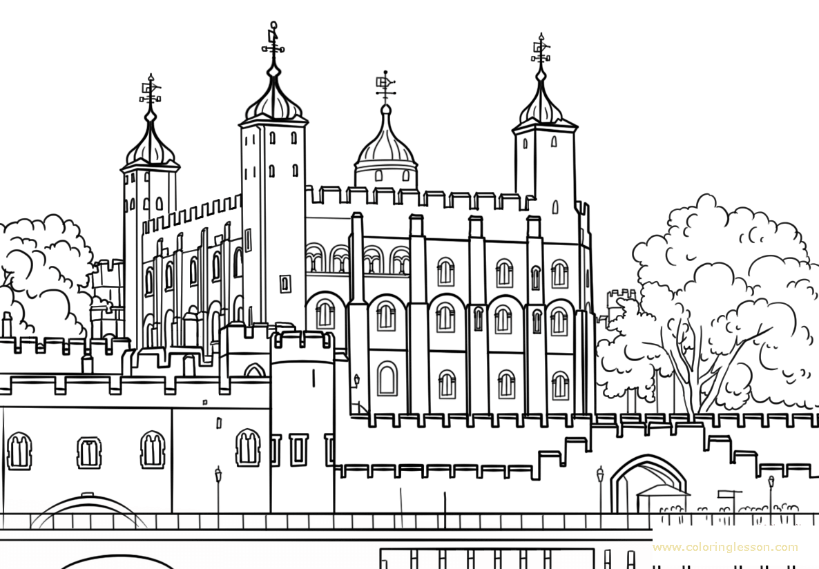 Tower of London Coloring Lesson | Kids Coloring Page ...
